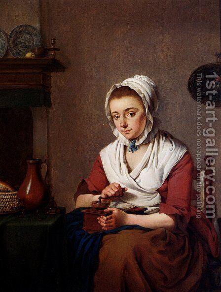 A Maid Grinding Coffee by Jacobus Johannes Lauwers - Reproduction Oil Painting