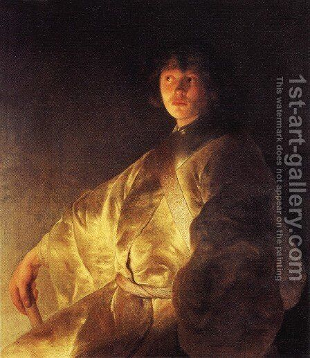 Self-Portrait (?) in a Yellow Robe by Jan Lievens - Reproduction Oil Painting