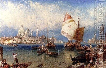 A Market Day On The Giudecca, Venice by Myles Birket Foster - Reproduction Oil Painting