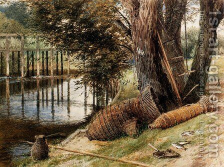 Eel Pots, On The Banks Of A River by Myles Birket Foster - Reproduction Oil Painting
