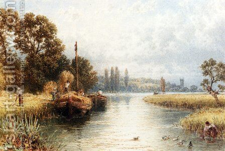 Loading The Hay Barges, With A Young Woman Taking Water From The River In The Foreground by Myles Birket Foster - Reproduction Oil Painting