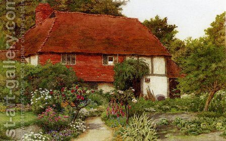 A Cottage Garden by Curtius Duassut - Reproduction Oil Painting