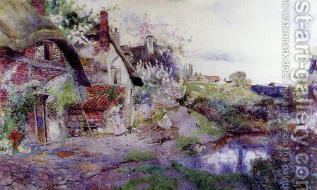 An English Idyll, Figures Outside A Thatched Cottage by David Woodlock - Reproduction Oil Painting