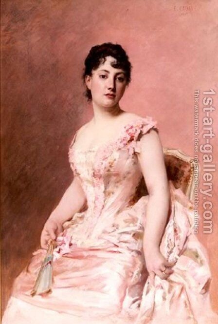 Lady in Pink by Edouard Cabane - Reproduction Oil Painting