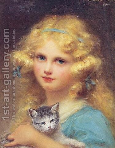 Portrait of a young girl holding a kitten by Edouard Cabane - Reproduction Oil Painting