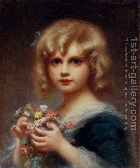 Girl With Flowers by Edouard Cabane - Reproduction Oil Painting