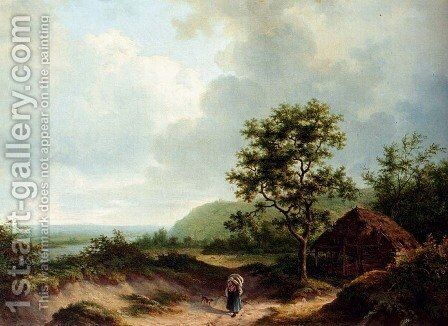 A Wooded River Landscape by Alexander Joseph Daiwaille - Reproduction Oil Painting