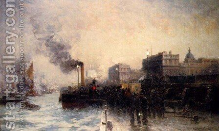 The Last Boat From Greenwich by Edward Aubrey Hunt - Reproduction Oil Painting