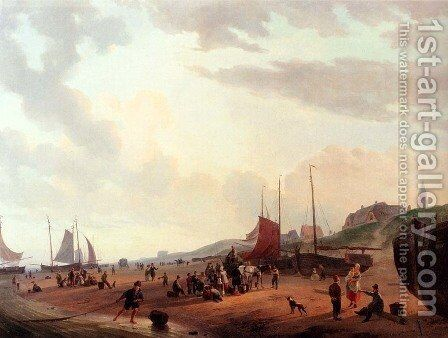 Fisherfolk And Townsfolk On Scheveningen Beach In The Afternoon by Abraham Johannes Couwenberg, Jzn. - Reproduction Oil Painting