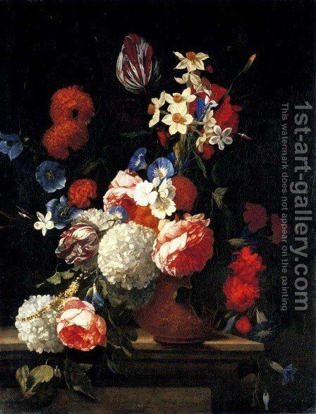 Tulips, peonies, morning glory, narcissi and other flowers in a decorated vase on a ledge by Hieronymus Galle I - Reproduction Oil Painting