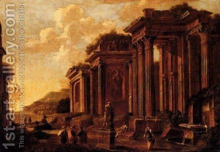 An architectural capriccio with figures amongst ruins by Giovanni Ghisolfi - Reproduction Oil Painting