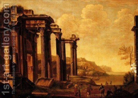 An architectural capriccio with figures by a cove by Giovanni Ghisolfi - Reproduction Oil Painting