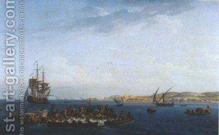 Vue du golfe de Bandol: la pêche au thon (View of the Gulf of Bandol: Fishing for Tuna) by Claude-joseph Vernet - Reproduction Oil Painting