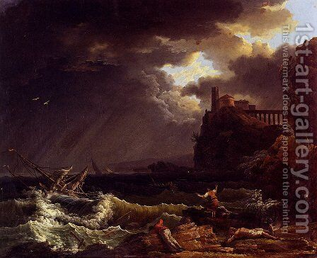 A Shipwreck In A Stormy Sea By The Coast by Claude-joseph Vernet - Reproduction Oil Painting