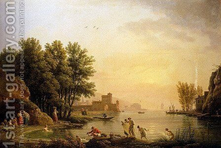 Landscape With Bathers by Claude-joseph Vernet - Reproduction Oil Painting