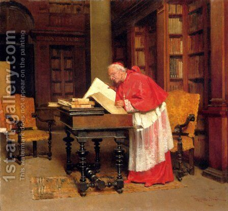 A Cardinal In His Study by Giovanni Paolo Bedini - Reproduction Oil Painting