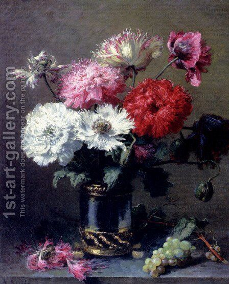 Poppies In A Metal Vase With A Bunch Of Grapes On A Table by Alexis Kreijder - Reproduction Oil Painting