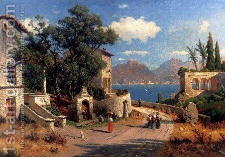 An Italian Village By A Lake by Carl Gustav Rodde - Reproduction Oil Painting