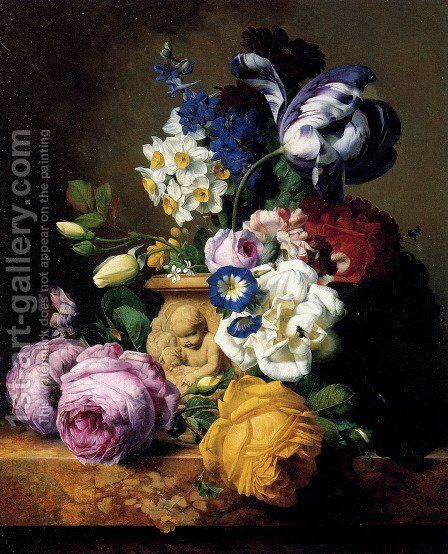 Roses,Tulips, Morning Glory, Delphinium And Primrose Peerless In A Terra Cotta Vase On A Marble Ledge by Charles-Joseph Node - Reproduction Oil Painting