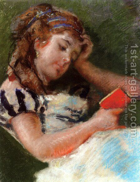 A Young Girl Reading by Mose Bianchi - Reproduction Oil Painting