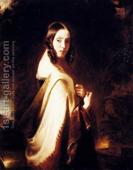 A Lady With A Shawl by Catherine Esther Paris-Persenet - Reproduction Oil Painting
