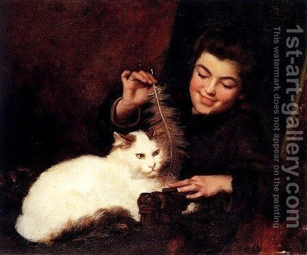 A Young Girl With A White Cat by Antoine Jean Bail - Reproduction Oil Painting