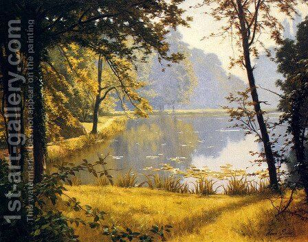 A Lily Pond by Henri Biva - Reproduction Oil Painting
