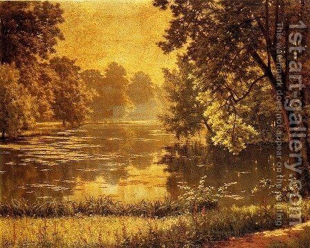 A Wooded River Landscape by Henri Biva - Reproduction Oil Painting