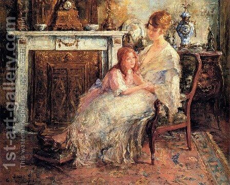 Mother And Daughter by Edward Verschaffelt - Reproduction Oil Painting