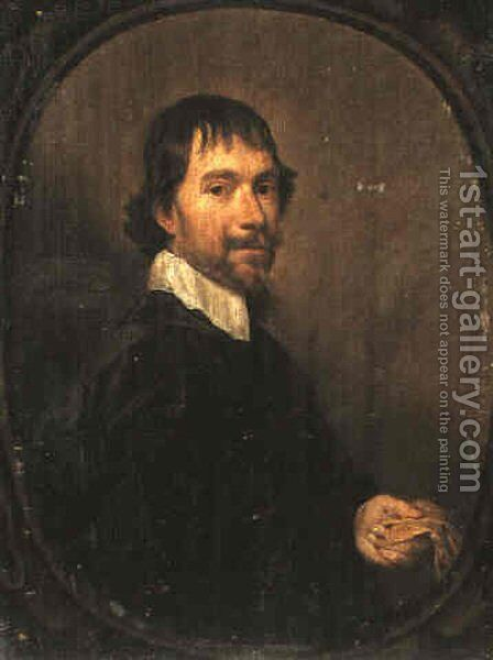 A Portrait of a Man Holding a Glove by Jan Mytens - Reproduction Oil Painting