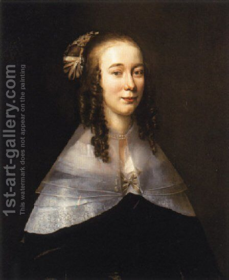 Portrait of a lady wearing a black dress and a white collar by Jan Mytens - Reproduction Oil Painting