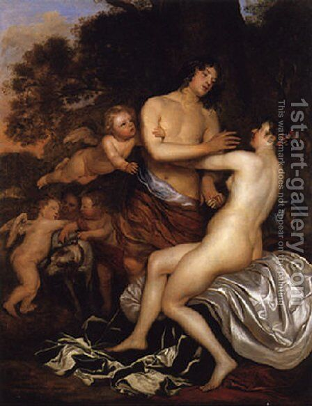 Venus and Adonis by Jan Mytens - Reproduction Oil Painting