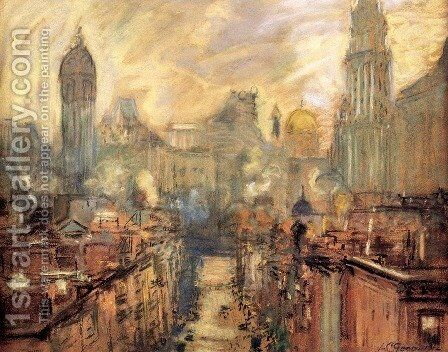 Lower New York From Manhattan Bridge by Arthur C. Goodwin - Reproduction Oil Painting
