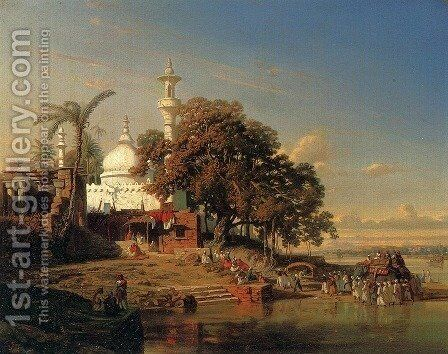 An Indian Mosque On The Hooghly River Near Calcutta by Auguste Borget - Reproduction Oil Painting