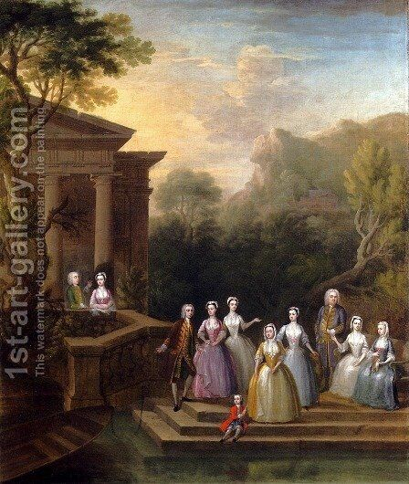 Group Portrait Of A Family, By A Lake And A Classical Pavilion by Charles Philips - Reproduction Oil Painting