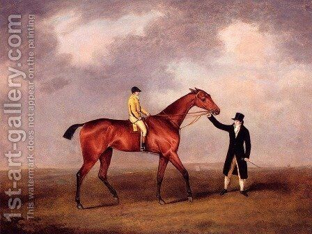 Lord Grosvenor's Violante With Frank Buckle Up, Held By A Groom On A Racecourse by Henry Bernard Chalon - Reproduction Oil Painting