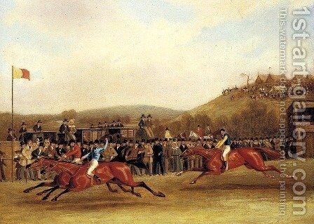 Vivian, Lady Emily and Wallington at the Finish of The Hunter's Stakes at Worthy Down, Winchester in July 1835 by James Pollard - Reproduction Oil Painting