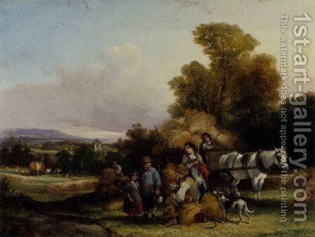 Harvesting In Surrey by William Shayer, Jr. - Reproduction Oil Painting