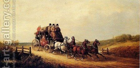 The London to Brighton Royal Mail on the Open Road by Charles Cooper Henderson - Reproduction Oil Painting
