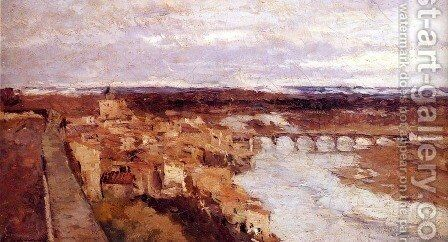 View of the Town of Pont-du-Chateau by Albert Lebourg - Reproduction Oil Painting