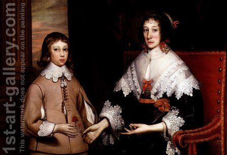 Portrait Of A Lady And Her Son by Edward Bower - Reproduction Oil Painting