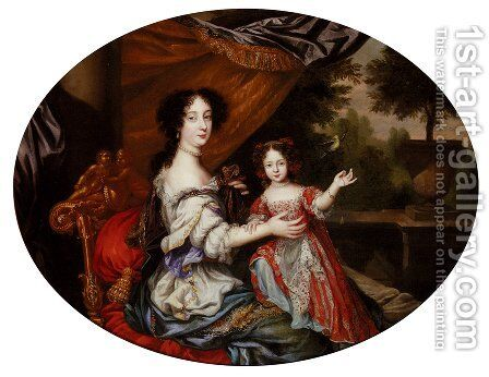 Portrait Of Barbara Villiers, Countess Of Castlemaine (1640-1709), And Her Daughter, Lady Charlotte Fitzroy, Countess Of Lichfield by Henri Gascars - Reproduction Oil Painting