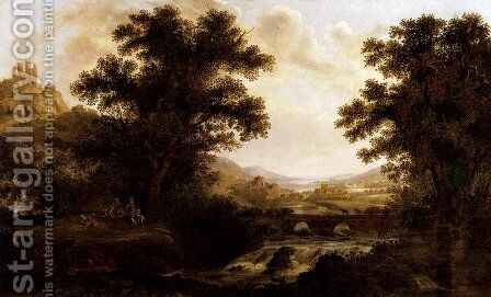 An Italianate Landscape With Drovers Crossing A Bridge And Figures By A Camp Fire by James Lambert - Reproduction Oil Painting