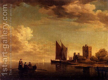 Two Views Of Blankenburg Castle Off The Coast Of Flanders (Pic 1) by Charles Brooking - Reproduction Oil Painting