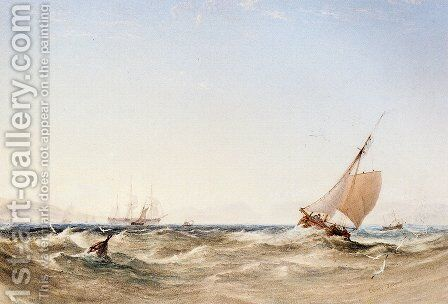 Shipping Off The Coast by Anthony Vandyke Copley Fielding - Reproduction Oil Painting