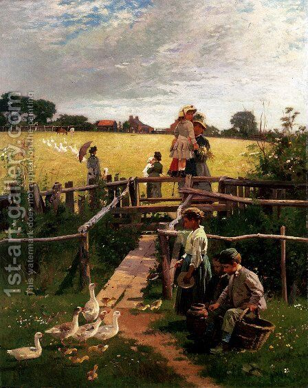 At The Stile by Alexander M. Rossi - Reproduction Oil Painting