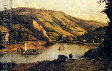 An Extensive River landscape, Probably Derbyshire, With Drovers And Their Cattle In The Foreground by Jan Siberechts - Reproduction Oil Painting