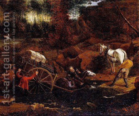 Figures With A Cart And Horses Fording A Stream by Jan Siberechts - Reproduction Oil Painting