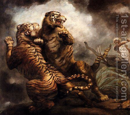 Tiger Hunting by James Northcote, R.A. - Reproduction Oil Painting