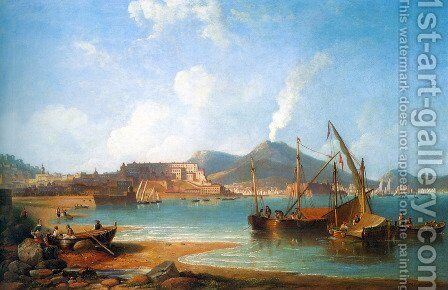 The Bay Of Naples With Vesuvius Beyond by James Wilson Carmichael - Reproduction Oil Painting